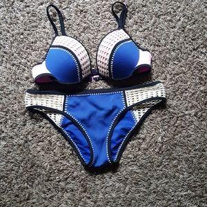 Victoria's Secret Blue & Pink Bra And Panties Set